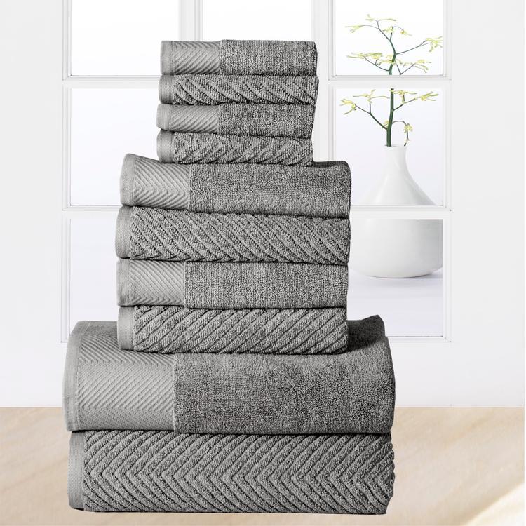 100-percent Cotton Jacquard 10-piece Towel Set