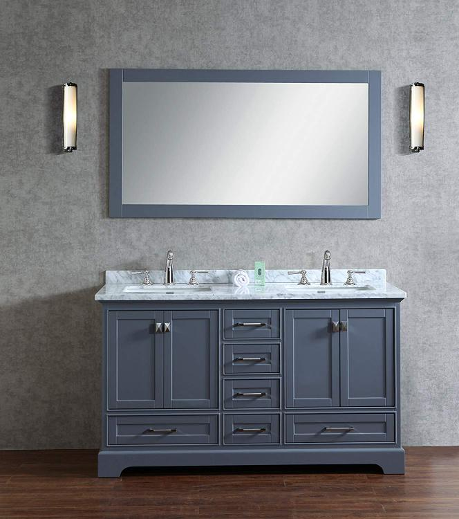 Stufurhome Newport Double Sink Bathroom Vanity with Mirror