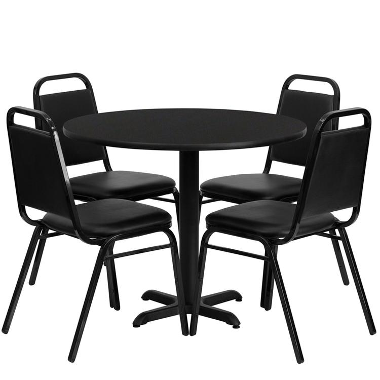 Round Table Set With 4 Trapezoidal Back Banquet Chairs