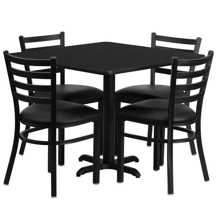 Square Table Set With 4 Ladder Back Metal Chairs
