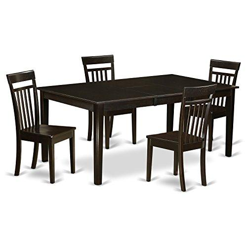 East West Furniture Dining Room Set-Table With Leaf And Dinette Chairs [Item # HECA5-CAP-W]