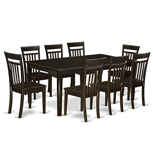 East West Furniture Dining Room Set-Table With Leaf And Dinette Chairs