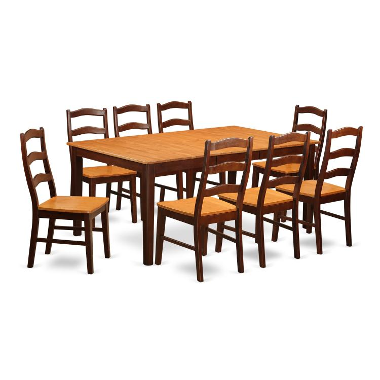 Dining Room Set-Table With Leaf And Dining Chairs [Item # HENL9-BRN-W]