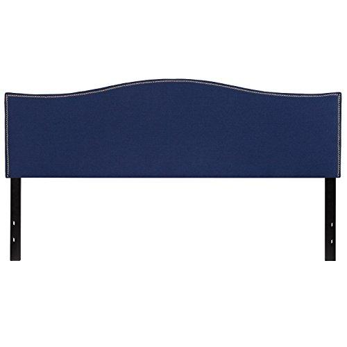 Lexington Upholstered King Size Headboard with Decorative Nail Trim in Navy Fabric