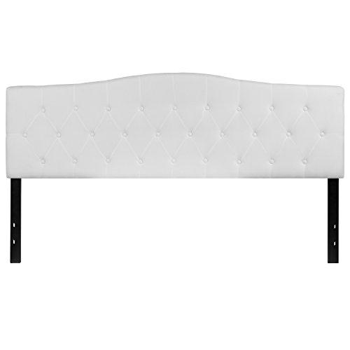Cambridge Tufted Upholstered King Size Headboard in White Fabric