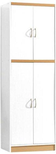 Hodedah 4 Door Pantry - White