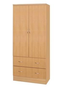 Hodedah 2 Doors Wardrobe W/2 Drawers - Beech