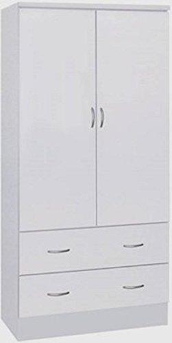 2 Doors Wardrobe W/2 Drawers - White