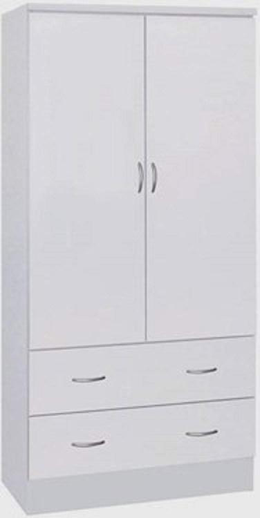Hodedah 2 Doors Wardrobe W/2 Drawers - White