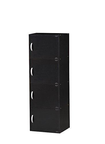 Hodedah 4 Door Cabinet - Black