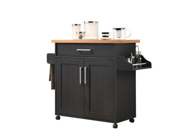 Hodedah Kitchen Island with Spice Rack plus Towel Holder in Black-Beech