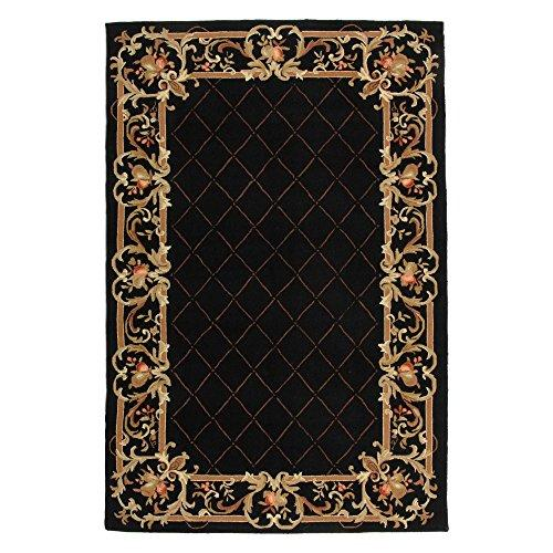 Country & Floral Rug - Chelsea Wool Pile -Black Style-B