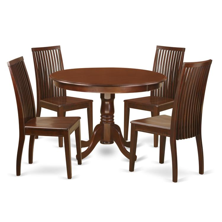 East West Furniture HLIP5-MAH-W 5 Piece Hartland Set With One Round 42in Dinette Table And 4 Dinette Chairs With Wood Seat In A warm Mahogany Finish.
