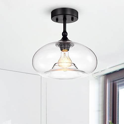 Warehouse of Tiffany Masix Matte Black 1-Light Semi-Flushmount Lamp with Donut Glass Shade (Edison Bulb Included)