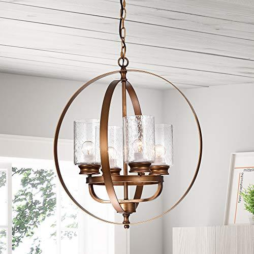 Warehouse of Tiffany Nadeem Brown 4-Light Pendant with Clear Shade
