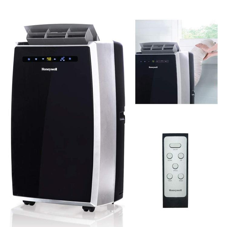 Honeywell Portable Air Conditioner with Dehumidifier & Fan for Rooms Up To 450 Sq. Ft. with Remote Control (Black/Silver)