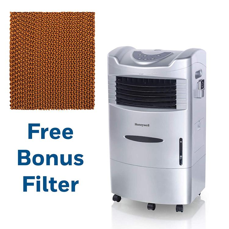 Honeywell 470 CFM Indoor Evaporative Air Cooler in Silver with Remote Control and an Extra Honeycomb Filter