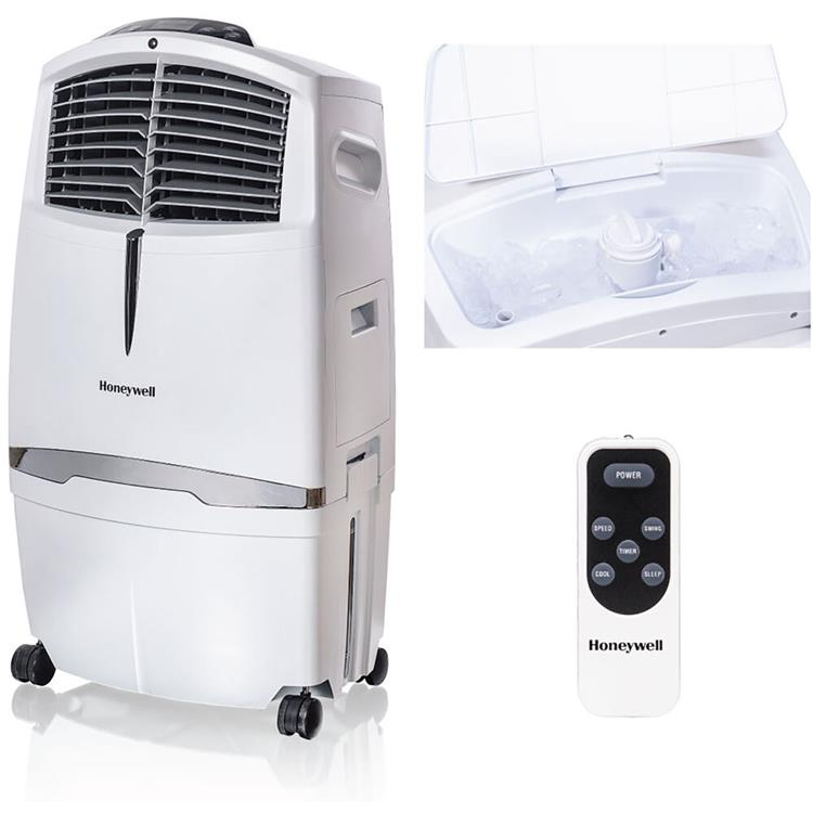 Honeywell 525 CFM Indoor Evaporative Air Cooler (Swamp Cooler) with Remote Control in White