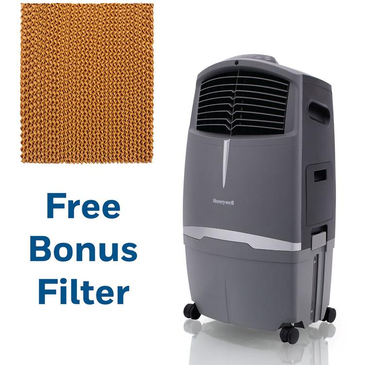 Honeywell 525 CFM Indoor/Outdoor Evaporative Air Cooler in Gray with Remote Control and an Extra Honeycomb Filter