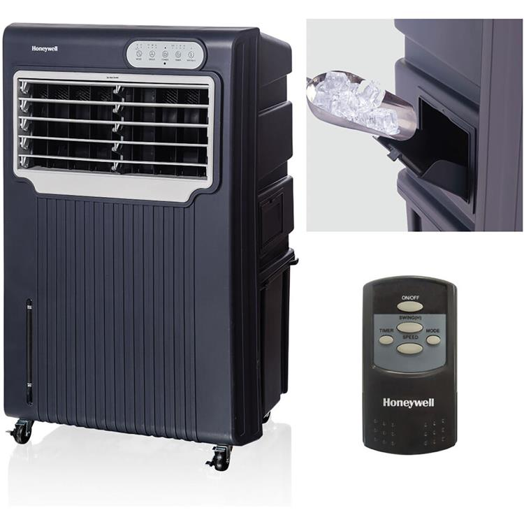 Honeywell 588 CFM Indoor/Outdoor Evaporative Air Cooler (Swamp Cooler) with Remote Control in Gray/White