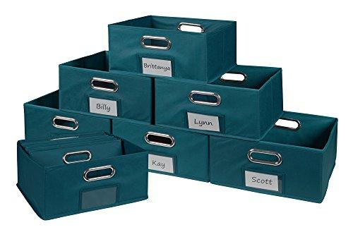 Niche Cubo Set of 12 Half-Size Foldable Fabric Storage Bins- Teal
