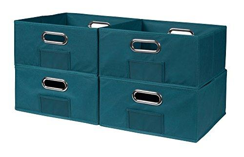 Niche Cubo Set of 4 Half-Size Foldable Fabric Storage Bins- Teal