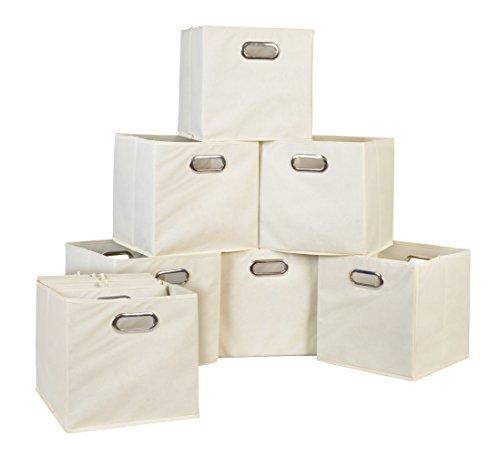 Niche Cubo Set of 12 Foldable Fabric Storage Bins- Beige