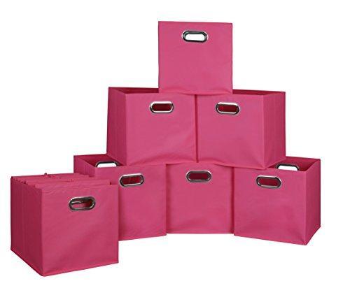 Niche Cubo Set of 12 Foldable Fabric Storage Bins- Pink