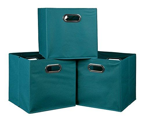 Niche Cubo Set of 3 Foldable Fabric Storage Bins- Teal