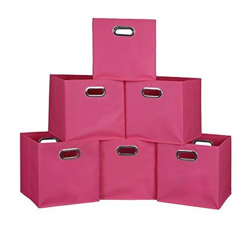 Niche Cubo Set of 6 Foldable Fabric Storage Bins- Pink