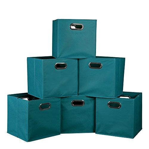 Niche Cubo Set of 6 Foldable Fabric Storage Bins- Teal