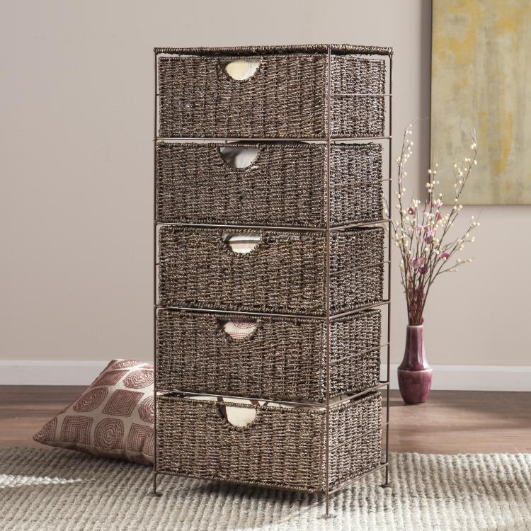 Kelsey Seagrass 5-Drawer Storage
