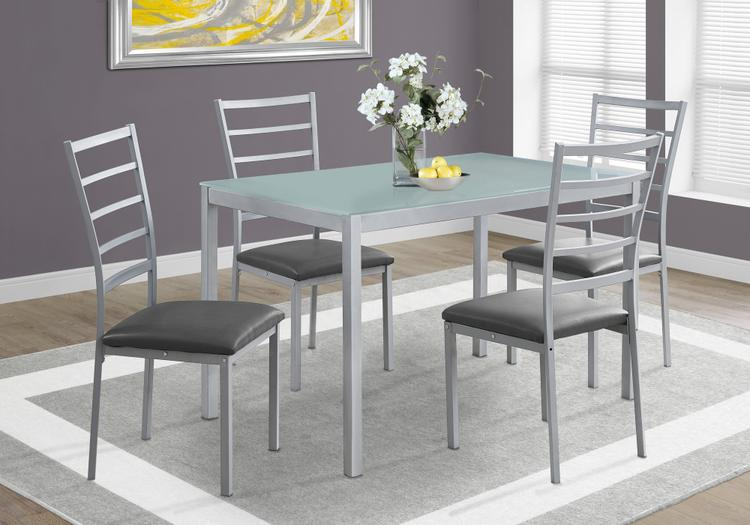 Monarch Specialties Dining Set - Frosted Tempered Glass