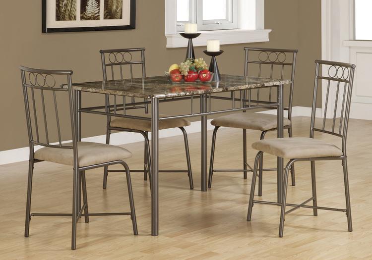Monarch Specialties Dining Set - Marble/Metal
