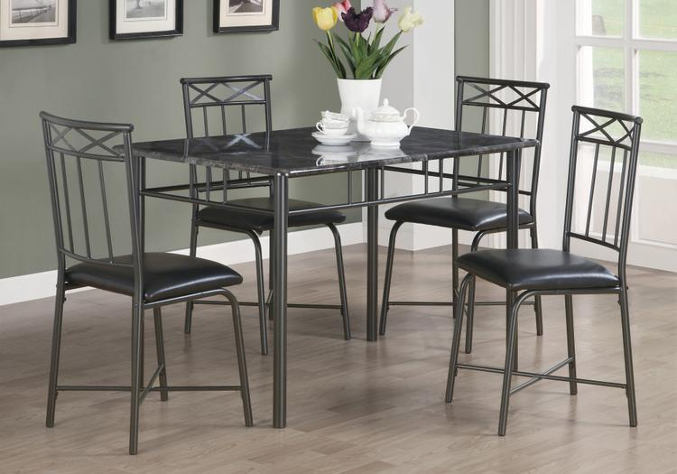 Monarch Specialties Dining Set - Marble/Metal