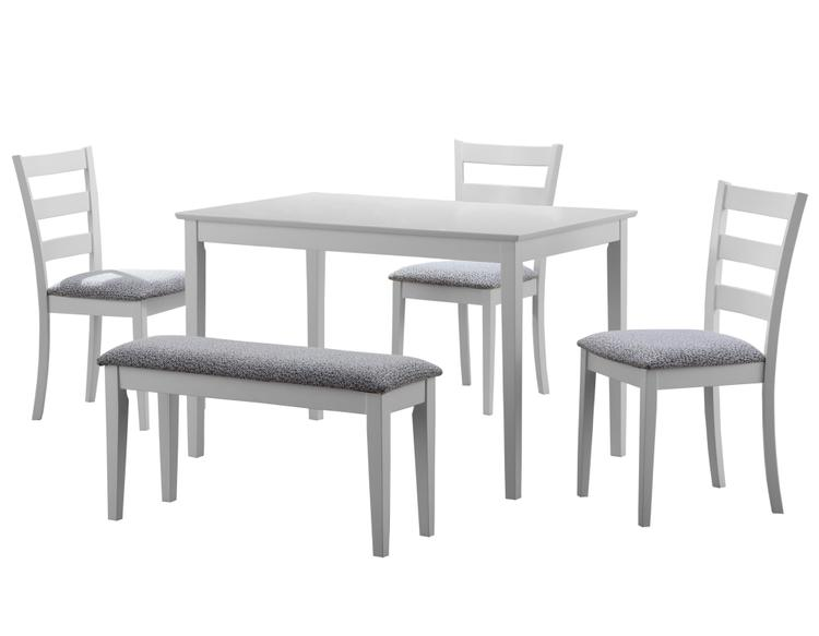 Monarch Specialties DINING SET - 5PCS SET / WHITE BENCH AND 3 SIDE CHAIRS