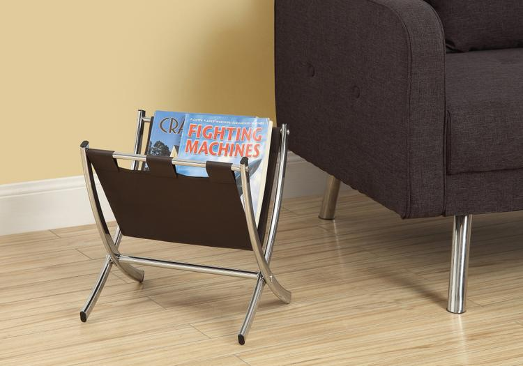 Magazine Rack - Leather-Look/Metal