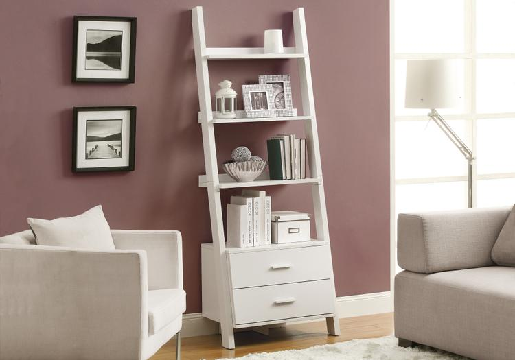 Monarch Specialties Bookcase - Ladder With 2 Storage Drawers