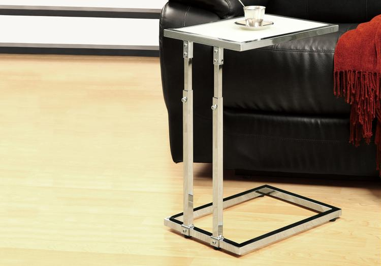 Accent Table - Metal Adjustable Height/Tempered