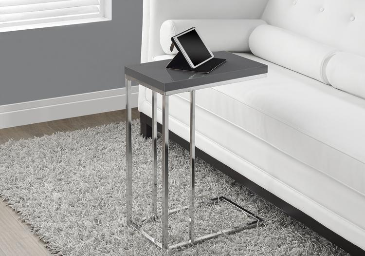 Accent Table - Glossy With Chrome Metal