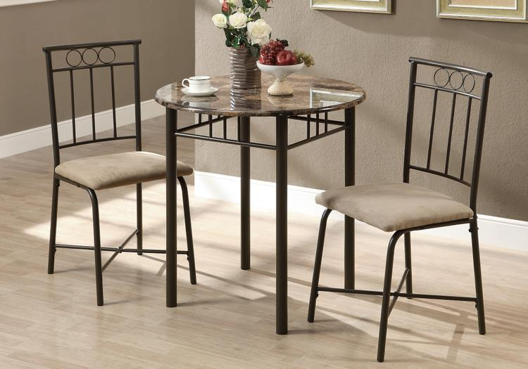 Monarch Specialties Marble/Metal Dining Set