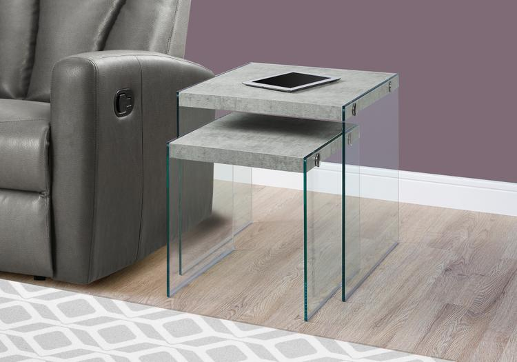 Monarch Specialties Nesting Table - Tempered Glass
