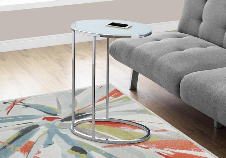 Accent Table - Oval/Chrome/Frosted Tempered Glass