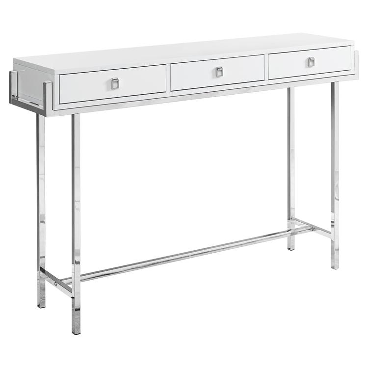 Monarch Specialties Accent Table - 48 inch L / Glossy White / Chrome Metal
