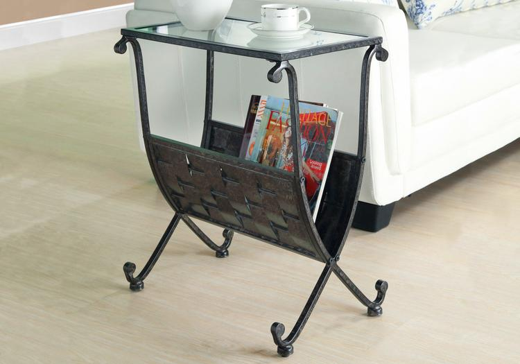 Accent Table - Mix Metal With Tempered Glass