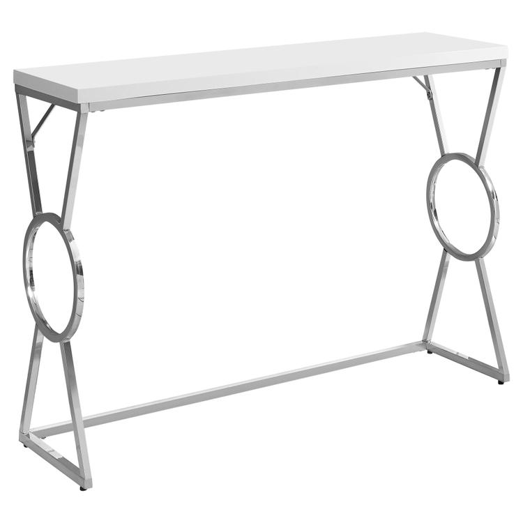 Monarch Specialties Accent Table - 42 inch L / Glossy White / Chrome Metal