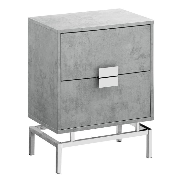 Monarch Specialties Accent Table - 24 inch H / Grey Cement / Chrome Metal