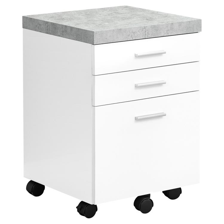 Monarch Specialties Filing Cabinet - 3 Drawer / White / Cement-Look On Castor