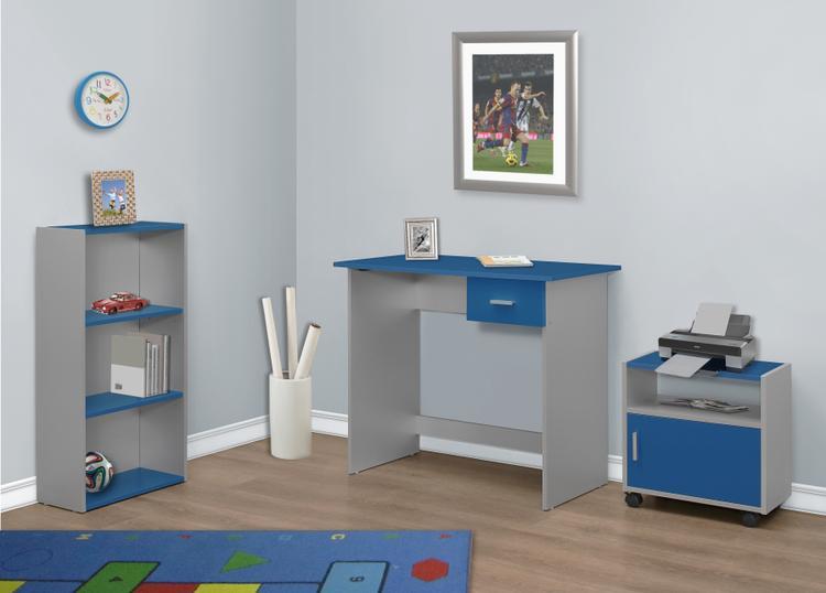 Computer Desk - 3Pcs / Silver Desk/ Bookcase/ Cart