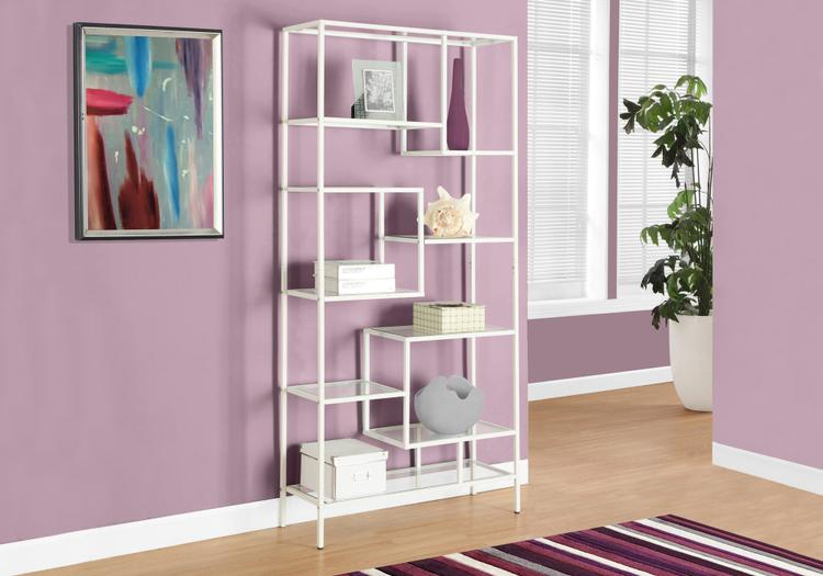 Bookcase - Metal With Tempered Glass